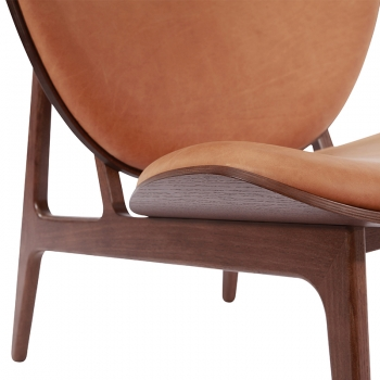 elephant chair, dark stained, cognac
