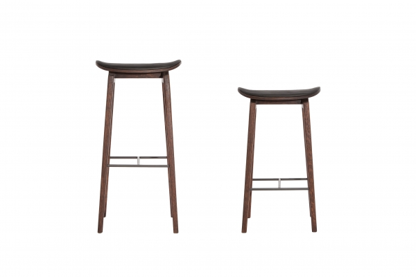 Norr11 NY11 Bar Chair Dark Stained, Leather Black