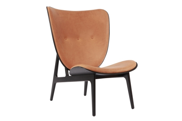 elephant chair, black, cognac